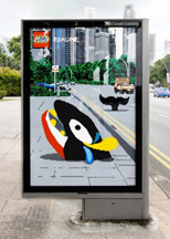 Lego ad on bus shelter