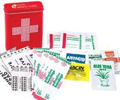 Retro first aid kit in tin box